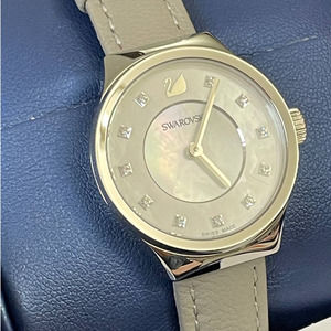 SWAROVSKI GRAY LEATHER MOTHER OF PEARL DIAL WATCH